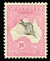 Lot 517:10/- Grey & Pink BW #47e, Short Spencer's Gulf and Roo misplaced upwards - ears outside of map, fine MLH with very good centring, premium example, Cat $2,250.