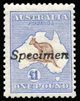 Lot 550:£1 Brown & Blue with Broken shading line below P of POSTAGE [L30] handstamped 'Specimen', BW #51x, Cat $950, Fresh colour.