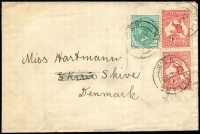 Lot 517:1d Red Die I NSW ½d green plus 1d Roo pair on 1913 (Aug 4) cover from Killara to Denmark.