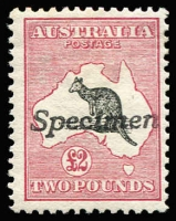 Lot 551:£2 Black & Rose handstamped 'Specimen', BW #55x, hinge rem, Cat $850.