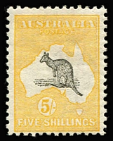Lot 515:5/- Grey & Yellow BW #42, fine MLH, Cat $900.