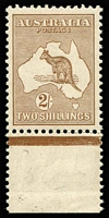 Lot 528:2/- Light Brown BW #36, marginal single (slight separation), very well centred, fresh MVLH, Cat $8,500.