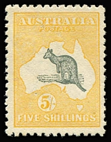Lot 509:5/- Deep Grey and Chrome Broken tail on kangaroo [L4], BW #43(V)e, fine mint, small natural paper flaw, Cat $1.900.