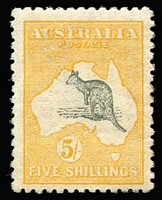 Lot 530:5/- Deep Grey and Chrome Wmk inverted with Missing top shading line in Bight [L54] BW #43a, nice centring, very fine, regummed, Cat $2,000.