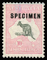 Lot 611:10/- Grey & Pink Optd 'SPECIMEN' Type C optd 'SPECIMEN' Type C Sub-type 1 damaged 'C', BW #49xb, without gum, light blue pencil mark in top margin, Cat $1,750.