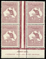 Lot 153:2/- Maroon plate 1 Ash (N over A) imprint block of 4, BW #39(1)z, Cat $2,250, 3 units MUH.