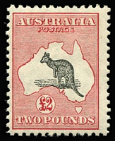 Lot 550:£2 Grey & Rose-Crimson with Short Spencer's Gulf [R58], BW #57(D)j, MLH, Cat $7,000.