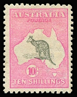 Lot 539:10/- Grey & Deep Aniline Pink BW #48B, nice colour, mint, Cat $750