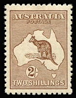 Lot 534:2/- Brown BW #37, lovely centring & perfs, MVLH, Cat $400.