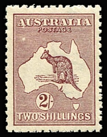 Lot 536:2/- Maroon BW #38, with uncatalogued White flaw below AU and on first A of AUSTRALIA, MUH, well centred. BW #38.