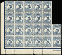 Lot 571:2½d Blue plate 1 part imprint block of 22, catalogued varieties on 1L45 & 1L54, couple of spots and light crease, Cat $2,200++.