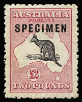 Lot 607:£2 Purple-Black & Rose Overprinted 'SPECIMEN' Type C BW #56Cxb with Colour flaw between ears [R39], quite well centred, MNG, Cat $375.