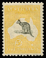 Lot 537:5/- Grey & Deep Yellow BW #44C, well centred, MVLH, Cat $400.
