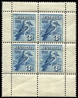 Lot 756:1928 3d Kookaburra Miniature Sheet BW #133, from base of sheet, MUH, Cat $375.