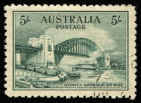 Lot 697:1932 5/- Sydney Harbour Bridge CTO, well centred, without gum. BW #148w, Cat $300.