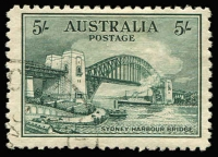 Lot 695:1932 5/- Sydney Harbour Bridge Retouch over centre of Bridge BW #148d, fine CTO without gum, Cat $750.