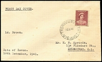 Lot 387:1941-43 1d Red-Brown Queen Mother BW #183 tied by 'THORNBURY NTH/10DE41/VIC-AUST' FD datestamp to plain FDC (minor faults) with typed address.
