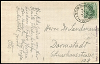 Lot 1382:1909 (Nov 3) use of German 5pf green on PPC of Zeppelin over Lake Constance, the note says the route was Friedrichshafen to Lindau, cancelled with 'K.K.OESTERR,SCHIFFSPOST/3/11/3-N/09/AM BODENSEE'.