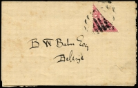 Lot 1404:1888-91 London Surcharges 2c on 1d bisect on wrapper?, SG #37a, addressed locally, Cat £110.