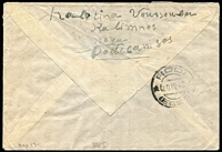 Lot 1409 [2 of 2]:1946 (Dec 14) use of 3d & 9d on air cover from Calymnos Dodecanese Islands, to USA, 'By North Atlantic Air Services Via U.K.' handstamp on face, Rodi backstamp.