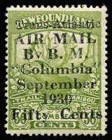 Lot 1327:1930 Columbia Air Post 50c on 36c olive-green Caribou, SG #191, Cat £6,500. A fine well centred example. A great rarity, only 300 printed!! Philatelic Foundation certificate (1989).