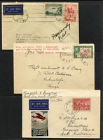 Lot 3 [3 of 6]:Airmail & First Flight Covers group incl 500th Flight cover from Palembang to Holland (27/11/37), 1936 Kingscote to Penneshaw first flight with SA Centenary plane cinderella, 1935 Lismore to Sydney flight signed by pilot, NEAL label on back, 1939 Suva to Tonga first flight. (9)