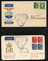 Lot 3 [4 of 6]:Airmail & First Flight Covers group incl 500th Flight cover from Palembang to Holland (27/11/37), 1936 Kingscote to Penneshaw first flight with SA Centenary plane cinderella, 1935 Lismore to Sydney flight signed by pilot, NEAL label on back, 1939 Suva to Tonga first flight. (9)