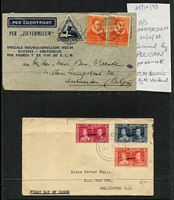 Lot 3 [5 of 6]:Airmail & First Flight Covers group incl 500th Flight cover from Palembang to Holland (27/11/37), 1936 Kingscote to Penneshaw first flight with SA Centenary plane cinderella, 1935 Lismore to Sydney flight signed by pilot, NEAL label on back, 1939 Suva to Tonga first flight. (9)