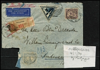 Lot 3 [6 of 6]:Airmail & First Flight Covers group incl 500th Flight cover from Palembang to Holland (27/11/37), 1936 Kingscote to Penneshaw first flight with SA Centenary plane cinderella, 1935 Lismore to Sydney flight signed by pilot, NEAL label on back, 1939 Suva to Tonga first flight. (9)