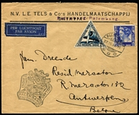 Lot 3 [1 of 6]:Airmail & First Flight Covers group incl 500th Flight cover from Palembang to Holland (27/11/37), 1936 Kingscote to Penneshaw first flight with SA Centenary plane cinderella, 1935 Lismore to Sydney flight signed by pilot, NEAL label on back, 1939 Suva to Tonga first flight. (9)