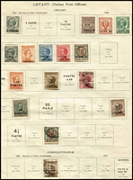 Lot 67 [3 of 7]:POs in the Levant mainly mint collection with French 1921-22 set of 10; Italian 1921-22 Constantinople range to 90pi on 10L; Dodecanese range of 15c slate and 20c orange incl 15c Simi with wmk (Cat £170), 20c Leros with wmk (Cat £225) & 85c 'Rodi' (Cat £100), 1929-32 Royal Visit set (Cat £275); Polish 1919 matt carmine ink 15f, 25f, 50f, 2m, 2.50m & 5m Cat £810 (forgeries?) Russian 1918 Ropit surcharges selection. Total Cat £2,200+ if all genuine. (99)