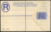 Lot 77:Tanganyika 1917 'G.E.A.' on East Africa & Uganda 31c blue Registration Envelope with 'SPECIMEN' ovpt, HG #IC1s.