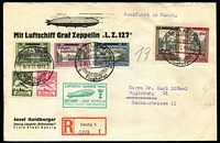 Lot 1438 [1 of 2]:1932 Return Flight of LZ 127 with 1932 flight set of 5, plus 1924 20pf & 1g Air on registered printed cover from Danzig to Magdeburg, green Graf Zeppelin cachet on face.