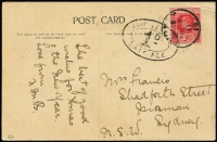 Lot 1460:1911 use of 1d red KEVII on JW Waters PPC of 'Pottery making, Fiji'. Stamp cancelled in Sydney and double-oval SHIP LE[TTER]