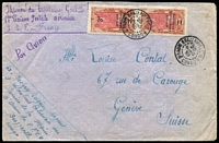 Lot 1801:1930 Brazzaville - France (Mar 20) use of 3f on 5f pair on cover to Switzerland.