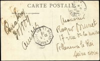 Lot 867 [2 of 2]:1909 (Oct 8) use of 10c on PPC, from Conarky to France, octagonal 'MATADI A BORDEAUX/30-8/094/L.L.NO1' TPO cancel on stamp & back.