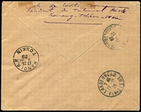 Lot 1468 [2 of 2]:1929 (Nov 5) use of Kwangchow 1c & 30c block of 4 (stamps cancelled at Hanoi) on registered air cover from Fort Bayard to France fine boxed 'VOYAGE/RETOUR RECORD DISTANCE/COSTES-BELLONTE/OCT NOV 1929' on face.