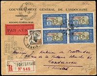 Lot 1534 [1 of 2]:1929 (Nov 5) use of Kwangchow 1c & 30c block of 4 (stamps cancelled at Hanoi) on registered air cover from Fort Bayard to France fine boxed 'VOYAGE/RETOUR RECORD DISTANCE/COSTES-BELLONTE/OCT NOV 1929' on face.