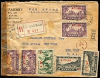 Lot 869 [1 of 2]:1945 (Mar) use of Senegal 1f50 on 15c x2 & 5f50 on 65c x3 and Mauritania 5f on 65c on registered cover from Grand Bassam to New York, censor reseal at left.