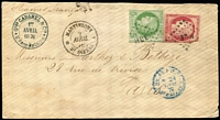 "Lot 1552:1876 (Apr 2) use of imperf General Colonies 5c Ceres and 80c Ceres (faults) on cover from St. Pierre to Paris, endorsed ""Steamer Français"", stamps cancelled with 'MQE'"