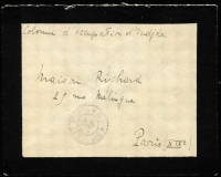 "Lot 353:1908 (Apr 16) use of stampless mourning cover, endorsed ""Colonne d'occupation d'Oudjda"", poor 'TRESORS ET POSTES/16/AVRIL/08/48' on face, to France."