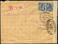 Lot 872 [1 of 2]:1916 (Sep 27) use of 25c on 25c pair on registered cover from Fez-Mellah to Switzerland, censor reseal at right.