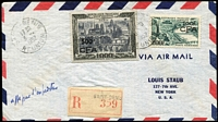Lot 1474 [1 of 2]:1952 (Apr 3) use of 500f on 1,000f Paris (Cat £250) and 100f on 200f Bordeaux, on registered air cover to USA. Rare stamps on cover.