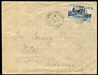 Lot 1453:1936 (Mar 7) use of 1f50 Amphitheatre from Grombalia to Valk, Estonia.