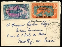 Lot 874 [1 of 2]:1934 (May 3) use of 10c orange-vermilion & blue and 40c Woman on tiny cover (8.2x6.2cm) from Bangui to France.
