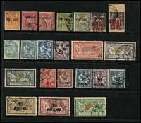 Lot 1344 [3 of 3]:1899-1923 Alexandria & Port Said used collection incl Alexandria 1899 Ovpts 10c to 2f, 1902 1c to 5f, 1921-23 Surcharges 8m on 20c pair right unit with Wide '8', 1921-22 Surcharges range to 150m on 5f and selection of French stamps with either large '5080' or Alexandrie cds; Port Said 1899 Ovpts 10c to 2f, 1902 -20 1c to 5f, 1899 Local Sucharges both in red & also 'VINGT-/CINQ' only, 1921-22 Surcharges range to 30m on 1f. Tot Cat £ 1,000+. (70)