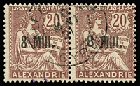Lot 1344 [1 of 3]:1899-1923 Alexandria & Port Said used collection incl Alexandria 1899 Ovpts 10c to 2f, 1902 1c to 5f, 1921-23 Surcharges 8m on 20c pair right unit with Wide '8', 1921-22 Surcharges range to 150m on 5f and selection of French stamps with either large '5080' or Alexandrie cds; Port Said 1899 Ovpts 10c to 2f, 1902 -20 1c to 5f, 1899 Local Sucharges both in red & also 'VINGT-/CINQ' only, 1921-22 Surcharges range to 30m on 1f. Tot Cat £ 1,000+. (70)