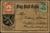 Lot 881:1912 (Jun 10) special 10pf Air Mi #I with 5pf Germania each tied to special postcard by 'Flugpost am Rhein u am Main/Frankfurt/(MAIN)/10.6.12/*' cds.