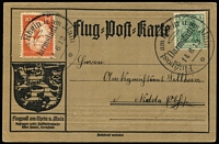 Lot 1489:1912 (Jun 14) special 10pf Air Mi #I with 5pf Germania each tied to special postcard by 'Flugpost am Rhein u am Main/Darmstadt/14.6.12/*' cds.