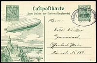 Lot 1490:1912 Frankfurt - Weisbaden (Oct 16) on special illustrated 5pf Germania Postal Card with Zeppelin.